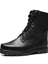 Men's Boots Fashion Boots / Motorcycle Boots / Comfort Leather Outdoor / Casual Flat Heel Lace-up Black