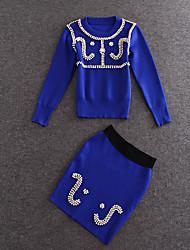 Damen Solide Retro Ausgehen T-shirt Rock Anzüge,Rundhalsausschnitt Sommer ½ Länge Ärmel Blau Baumwolle / Polyester Mittel