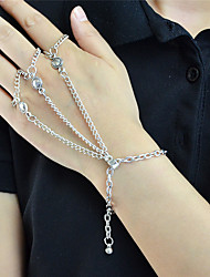 Silver Plated Chain Bracelets with Fingers Rings