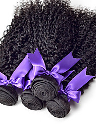 4Pcs lot 10-30 Natural Black Color Peruvian Virgin Hair Deep Curly Hair Weaves Can Be Colored Weft Hair