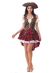 Costumes de Cosplay / Costume de Soirée Pirate Fête / Célébration Déguisement Halloween Rouge Mosaïque Robe / Chapeau / Plus d'accessoires
