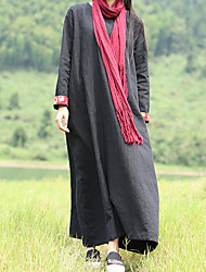 Cynthia Women's Casual/Daily Vintage A Line DressSolid Round Neck Maxi Long Sleeve Black Linen Spring