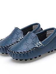 Boys Girls Flats / Fall / Winter Flats Leather Outdoor / Walking / Casual Flat Heel Slip-on Black / Blue / White Loafers