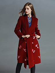 Boutique S Women's Going out Sophisticated CoatFloral Shawl Lapel Long Sleeve Fall / Winter Blue / Red Polyester Medium