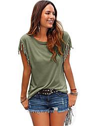 Damen Solide Einfach / Street Schick Lässig/Alltäglich T-shirt,Rundhalsausschnitt Sommer / Herbst Kurzarm Beige / Schwarz / Grün Polyester