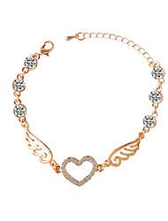 Women Girls´ Chain Bracelet Alloy Rhinestone Fashion Adorable Heart Wings / Feather Golden Jewelry 1pc