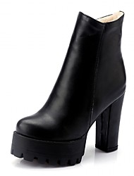 Feminino-Botas-Plataforma Inovador Botas de Cowboy Botas de Neve Botas Montaria Botas da Moda-Salto Grosso Plataforma-Preto-Couro
