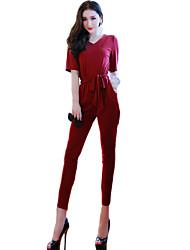 Women's Solid Blue / Red JumpsuitsVintage V Neck Short Sleeve