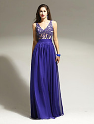 Formal Evening Dress - See Through A-line Straps Floor-length Chiffon Lace with Appliques Beading