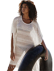 Women's White Lace Hollow-out Beach Cover-up Dress with Fringe