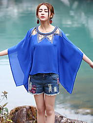 Our Story Going out Street chic Summer T-shirtSolid Round Neck Short Sleeve Blue Polyester Medium