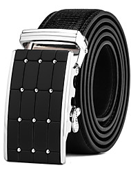 Men's Black Leather Waist Belt Suits Dress Black Silver Automatic Belt Buckle