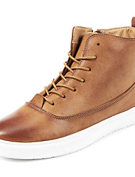 Men's Boots Spring Fall Winter Comfort Leatherette Casual Flat Heel Stitching Lace Black Tan