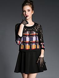 Mujer Corte Ancho Vestido Noche / Vacaciones Chic de Calle / Sofisticado,Un Color Escote Redondo Mini 3/4 Manga Negro SedaPrimavera /