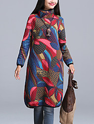 Women's Casual Ethnic Print Quilted Loose Dress,Print Turtleneck Long Sleeve Blue /Red /Green Cotton /Linen Fall /Winter
