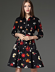 CELINEIA Women's Going out Vintage  DressFloral Shirt Collar Above Knee  Sleeve Black