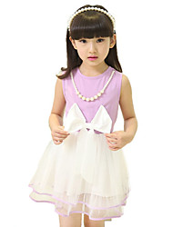 Girl's Going out Solid Dress,Cotton / Polyester / Others Summer Green / Purple / Red
