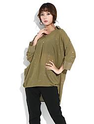 HANBELLE® Damen V-Ausschnitt 3/4 Ärmel T-Shirt Schwarz / Grau / Grün-6001#