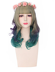 Fashion Wigs Green Mixed Color Glueless Cospaly Synthetic Wigs