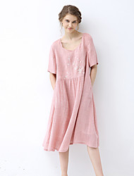 IDYLL ISLAND  Women's Going out / Casual/Daily Vintage A Line DressEmbroidered Asymmetrical Knee-length Summer