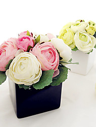 "1 Bouquet 1 Ramo Seda Rosas / Camélia Flor de Mesa Flores artificiais Total Length:9.9"";Diameter:6.8"""