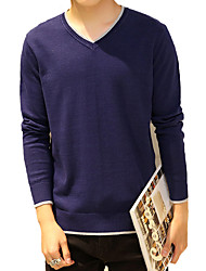 Men's Solid / Color Block Casual / Work / Formal / Plus Size V-Neck Slim Pullover Cotton Long Sleeve 5Colors M-5XL