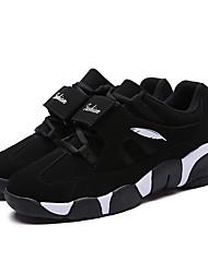 Atlético primavera sapatos masculinos / cair tecido conforto casual calcanhar plana sneaker preto / branco