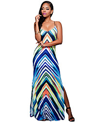 Women's Spaghetti Strap Multi-color Stripes Print Backless Maxi Dress