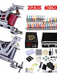 Professional Tattoo Kit KW02B 2 Machines With Power Supply Grips 40x5ML Ink needles