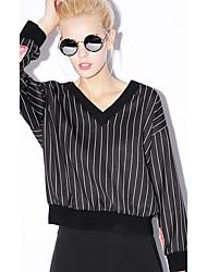 neu vor einfachen casual / täglich regelmäßige hoodiesstriped schwarz V-Ausschnitt Langarm Rayon / Nylon / Spandex-Frauen