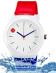 Kids' Wrist watch Colorful Quartz Silicone Band Leaves Candy color Cool Casual Blue Red