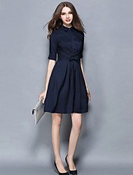 Women's Going out / Casual/Daily / Holiday Simple / Street chic A Line / Chiffon DressSolid Shirt Collar Knee-length