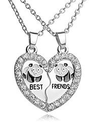 High Quality Best Friends Pendant Necklace Rhinestone Broken Heart Panda Pendants & Necklaces For Women Men Friends