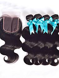 Trame cheveux avec fermeture Cheveux Péruviens Droit 4 Pièces tissages de cheveux