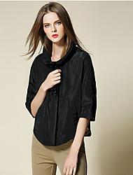 burdully sortir vintage / simple ressort / descente jacketssolid longueur stand manches beige / coton noir / rayonne