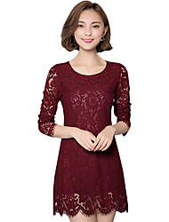 Fall Spring Women's Plus Size Go out Casual Solid Color Round Neck Long Sleeve Lace Dress