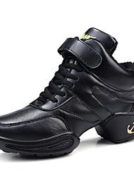 Customizable Women's Dance Shoes Plus velvet  Leather Dance Sneakers Split Sole Cuban Heel Professional / Performance
