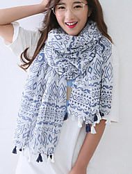 Women Polyester ScarfCasual RectangleWhite / BluePrint