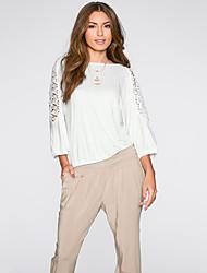 Damen Patchwork Retro Ausgehen T-shirt,Rundhalsausschnitt Herbst ¾-Arm Weiß Baumwolle Mittel