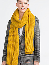 Women Vintage Casual Rectangle Solid Color Coarse Lines Knitting Yellow Long Scarf