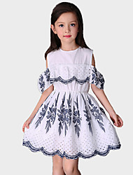 Girl's Casual/Daily Floral DressCotton / Polyester Summer / Spring White