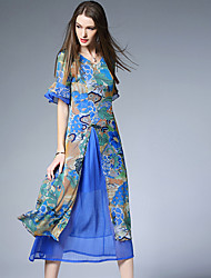 Burdully  Women's Formal Chinoiserie Sheath DressFloral V Neck Knee-length  Length Sleeve Blue / Red