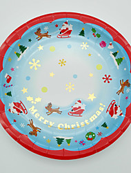 Christmas tipping paper plates six deer sled with double color