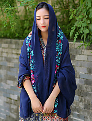 Women Vintage Casual Travel Candy-colored Linen Cotton Flower Embroidery Scarf Shawl