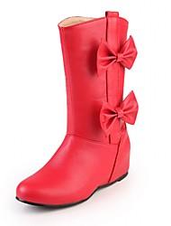 Feminino-Botas-Inovador Botas de Cowboy Botas de Neve Botas Montaria Botas da Moda-Anabela-Preto Vermelho Branco Amêndoa-Couro