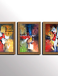 Oil Painting Modern Abstract Colourful Set of 3 Hand Painted Natural Linen With Stretched Frame