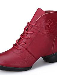 Chaussures de danse(Noir / Rouge) -Non Personnalisables-Talon Bas-Cuir-Moderne / Bottes de danse