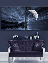E-HOME® Stretched LED Canvas Print Art Lake Sky LED Flashing Optical Fiber Print Set of 2
