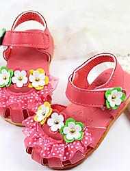 Girl's Sandals Summer Sandals Casual Flat Heel Applique Pink / White / Fuchsia Walking