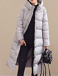 Women's Popular Long Down Coat Simple Plus Size / Casual Solid Long Sleeve Hooded